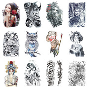 Big flower arm tattoo stick waterproof men and women carp lasting realistic half arm totem tattoo Korea