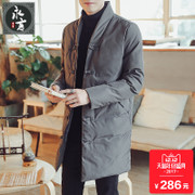In the long winter new men's costume cotton coat China winter wind thickening male male Pankou retro jacket