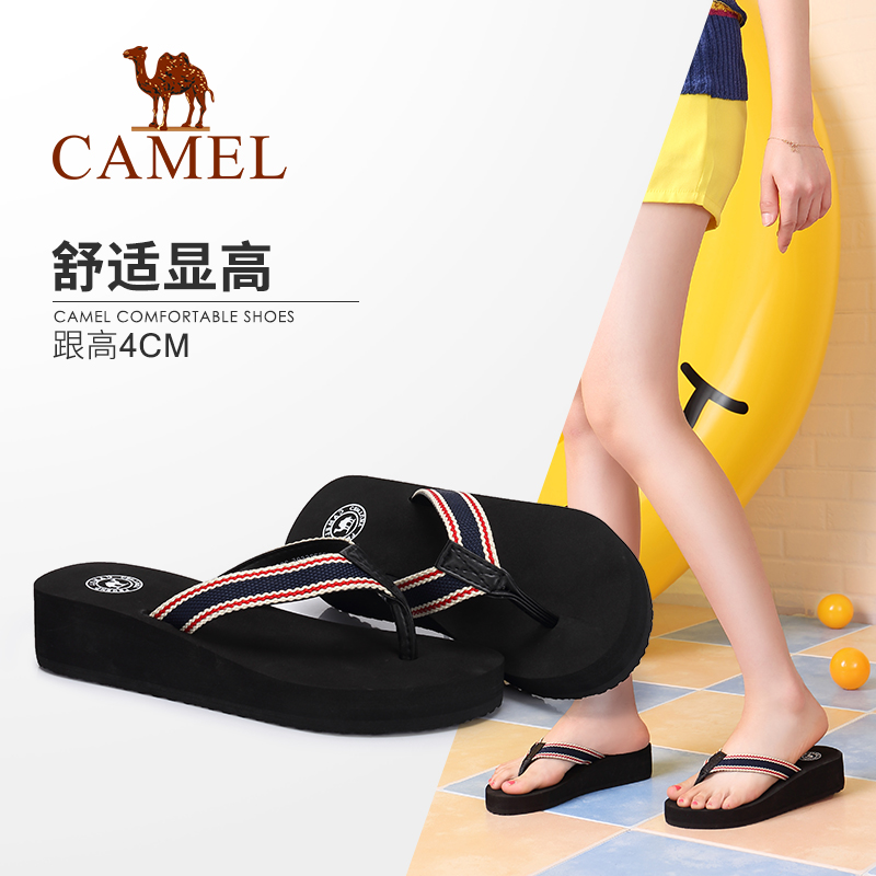Camel women's shoes, leisure slippers, women's new style in 2019 wearing fashionable net red thick-soled muffin shoes, flip-flop slippers