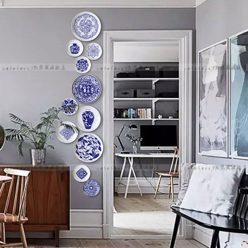 New Chinese Blue and White Porcelain Set Plate Chinese Restaurant Background Wall Creative Decoration Plate Wall Hanging Plate Ceramic Plate Arrangement