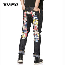 Evisu 19aw men's narrow foot large M print jeans 1eaam9je91617
