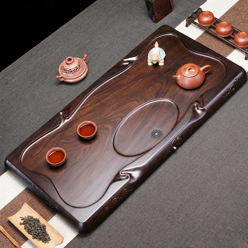 Ebony tea plate kung fu tea set home 託 square tea sea whole piece of solid wood size simple drainage