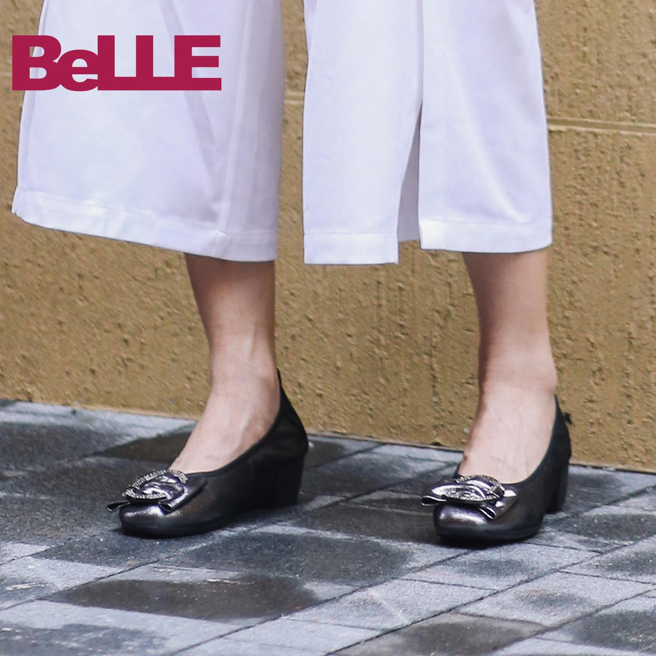 Belle's single shoe mall same new style sheepskin fashion shallow slope middle heel women's shoes buh03cq8
