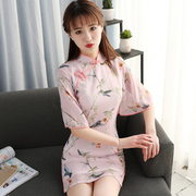 2017 new spring version of the improved version of the cheongsam female dress in the long section of the girls fashion short student summer