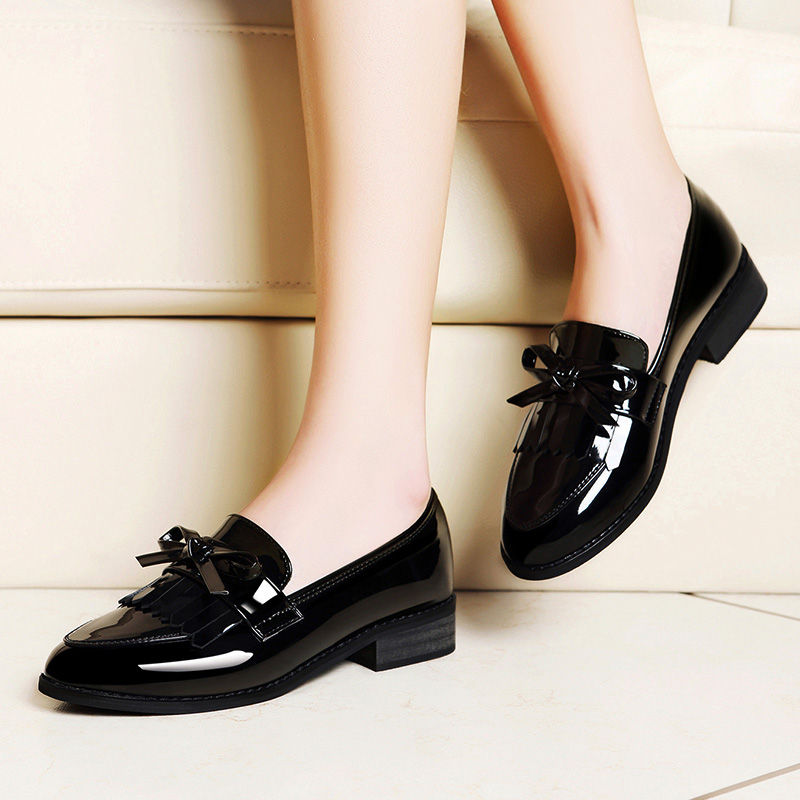 Black British Style Leather Shoes Women's Soft Leather Shoes 2019 New Skirt-wearing Single Shoe Flat Bottom