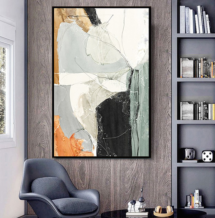 Hand-painted decorative painting porch living room hanging painting Hotel large modern simple luxury pure manual abstract oil painting customization