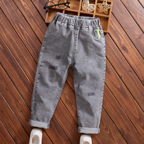 Childrens denim jeans autumn and winter new childrens pants in the big childrens fashion pie elastic plus-down pants tide