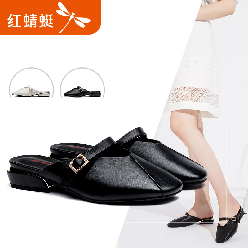 Red 蜻蜓 women's shoes 2018 summer new cow leather fashion square head Muller slippers back empty low heel sandals women