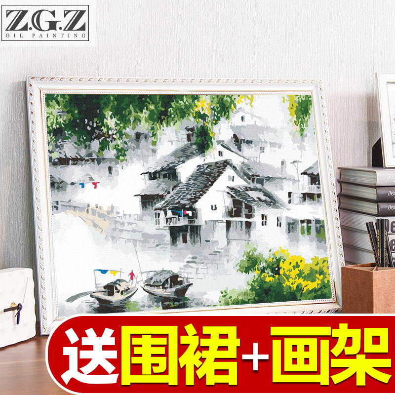 Zhao Gongzi Diy Digital Oil Painting Water and Ink Hand Painting Dream Filling Landscape Oil Painting Dreamland