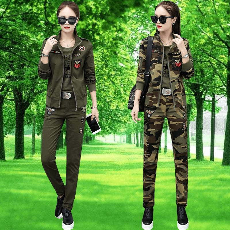 Army fan mountaineering army green cotton camouflage clothing female spring and autumn coat work casual trousers stretch three-piece suit 2018