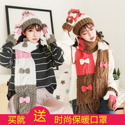 2017 new hat scarf glove three piece female autumn winter hooded collar gift set one.