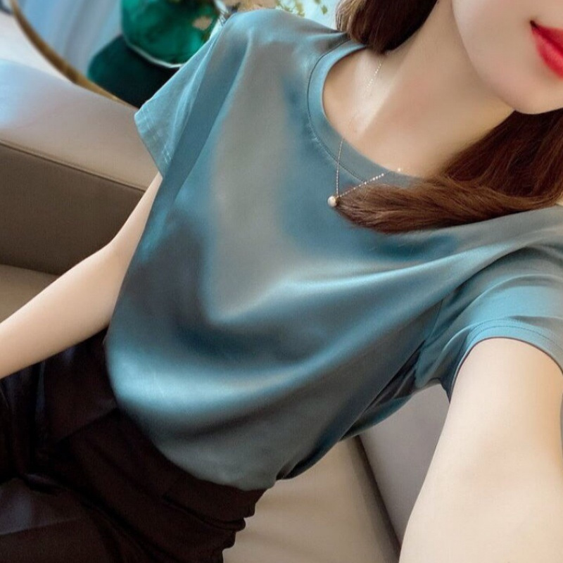 Net red fashion temperament light luxury short-sleeved T-shirt women 2021 summer new loose-fitting thin drooping set head solid color top