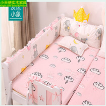 Little angel solid wood furniture baby 牀 牀 four-piece cushion breathable baby anti-collision cloth cotton can be removed and washed
