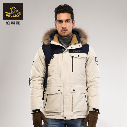 French Pelliot and outdoor down jackets for men and women in autumn and winter warm and windproof long large fur collar down jacket