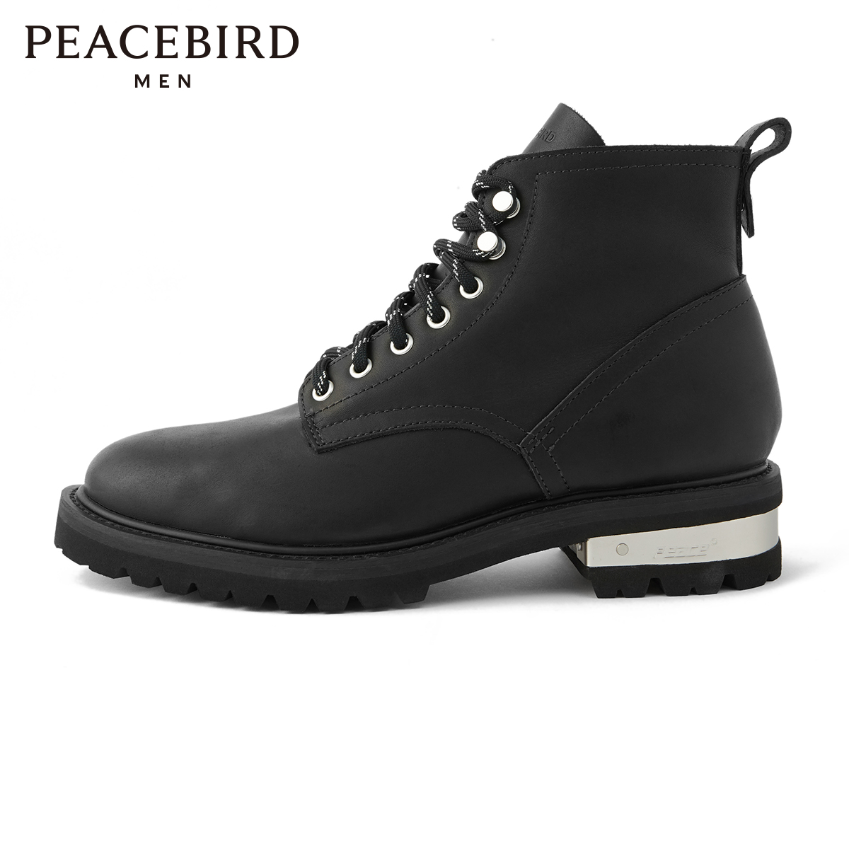 The same type of Peacebird men's clothing in the mall New high-top cowhide leather shoes Men's casual leather shoes BYZDA1194