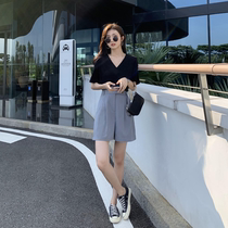 Japanese suit five-point pants womens a-line straight pants elastic waist summer thin cool thin gray wide-leg shorts