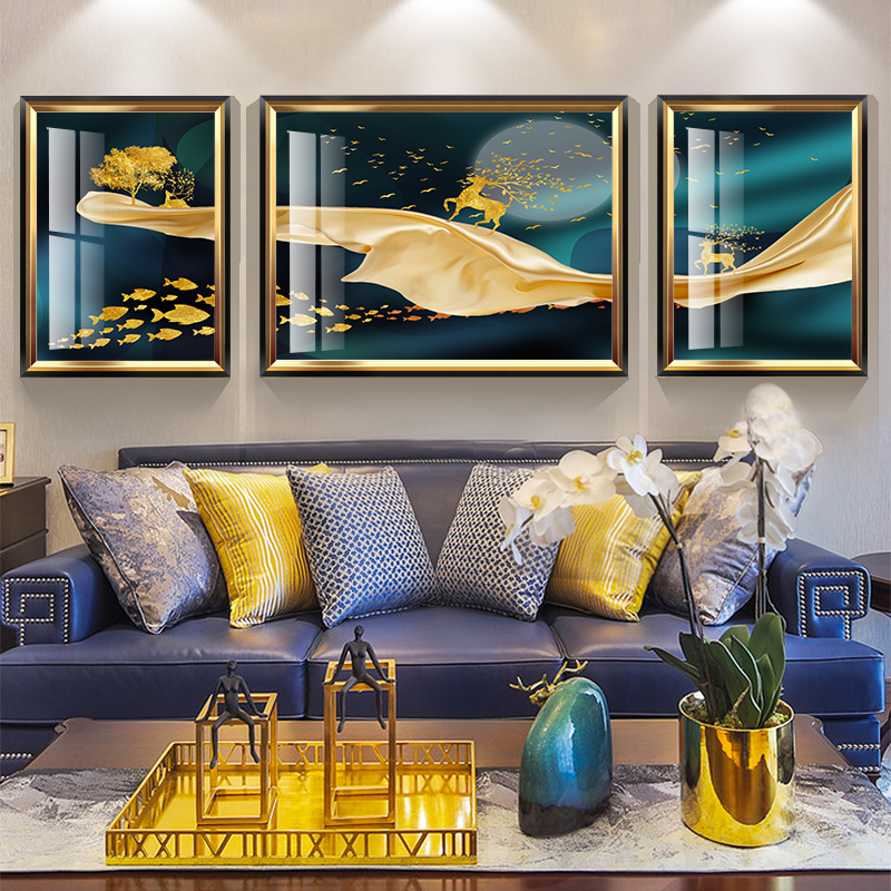 American Lightweight and Luxurious Living Room Sofa Background Wall Decoration Hanging Painting Modern Simple European Triple Golden Elk