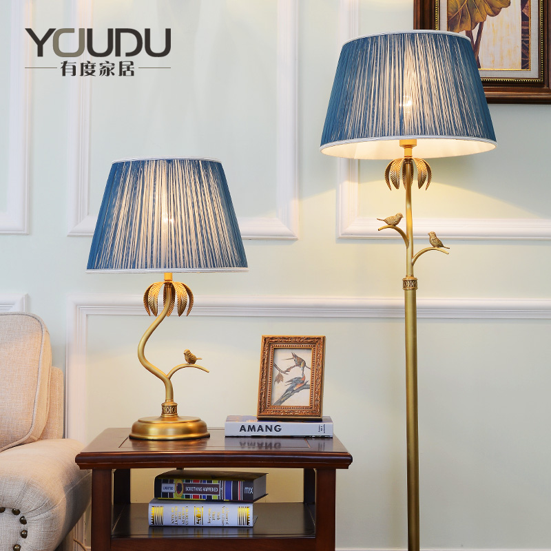 American-style all-bronze table lamp pastoral warm living room bedroom bedside table lamp study Villa Hotel retro European floor lamp