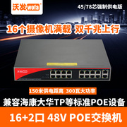 Wo fat 9 port POE switch power supply line 48V monitoring camera wireless AP power supply 16 Gigabit