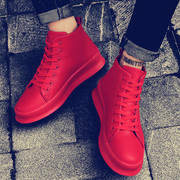 The winter men's high shoes red sports shoes and shoes increased in Korean men's cashmere warm shoes