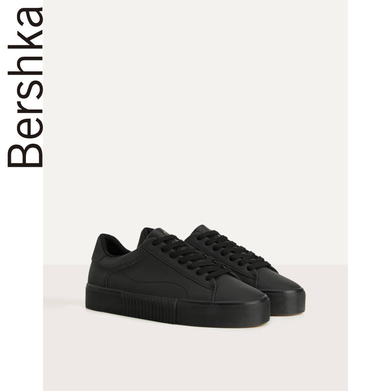 Bershka men's shoes spring 2020 new black low top flat sole sports shoes casual shoes 12429560040
