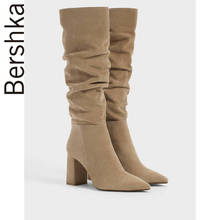 Bershka women's shoes fall 2019 new European and American wrinkled pointed high heel and knee boots 15434031107