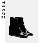 Bershka's 2017 new winter boots black patent leather boots with thick 15152231040