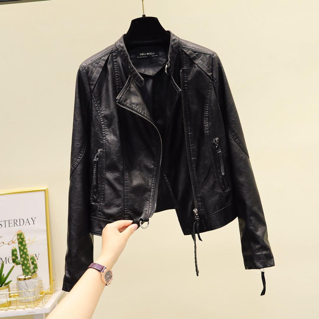Leather jacket women autumn winter 2020 new Korean version slim short fashion fashion casual locomotive leather jacket leather