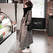 Autumn fashion Plaid wool tweed coat winter slim slim models Houjian type maxmara woolen coat