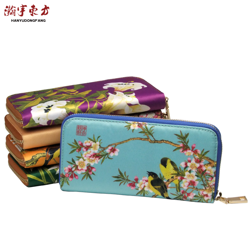 Chinese Style Woman Silk Wallet Gifts for Foreign Business Student Conference