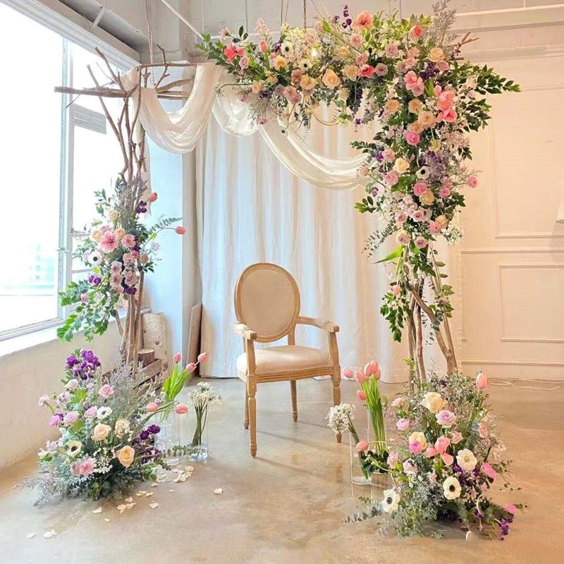 Wedding wooden stump tree branch multi-wood combination wooden arch outdoor Mori wedding celebration opening window back flower rack display