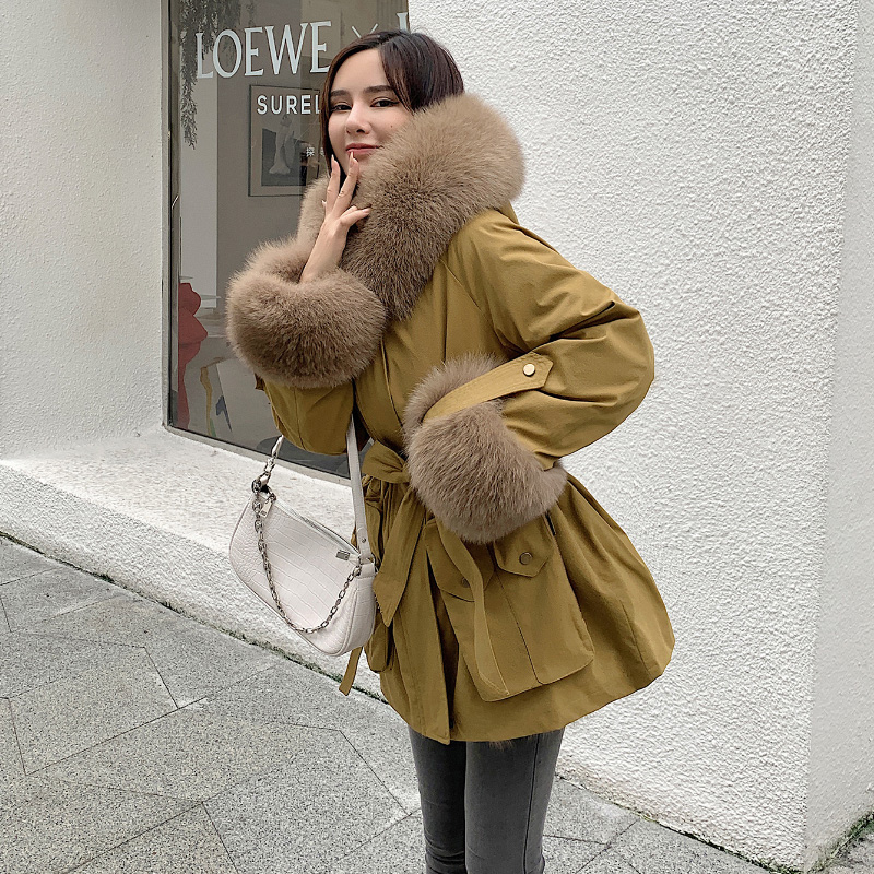 Fox fur liner detachable large fur collar tooling to overcome 2020 new women's winter coat Haining fur coat