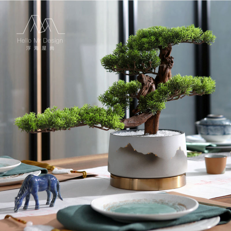 New Chinese-style simulation greeting Pinus grosvenorii bonsai Zen decoration Pinus koraiensis and Pinus grosvenorii soft-fitting household potted ornaments