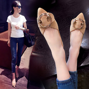 Shoes shoes shoes flattie tip 2017 spring and autumn new metal buckle all-match suede shallow mouth