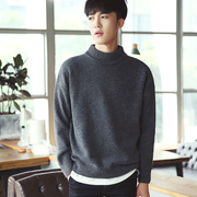 Autumn and winter men's sweater T-shirt semi turtleneck sweater cashmere loose Korean students with thick men sweater