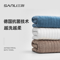 Sanli bath towel pure cotton adult men and women cotton super antibacterial towel household water absorption speed can not dry out the hair wrapper