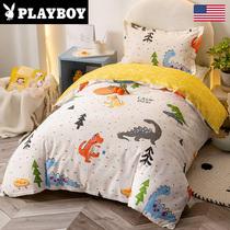 Playboy kindergarten quilt three-piece cotton quilt cover cotton bed linen childrens baby six-piece bedding