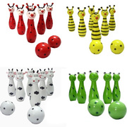 Children's cartoon animal puzzle wooden baby Bowling bowling shot 1-3 years old toy bags