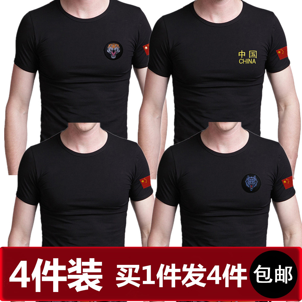 National Flag Embroidery Chinese Special Soldier T-shirt, Round collar, Short sleeve and Half sleeve Training T-shirt, Men's Military Wear, T-shirt and T-shirt