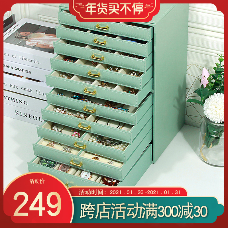 High-grade high-capacity jewelry box European-style princess Korean wooden jewelry box jewelry collection box gift girl