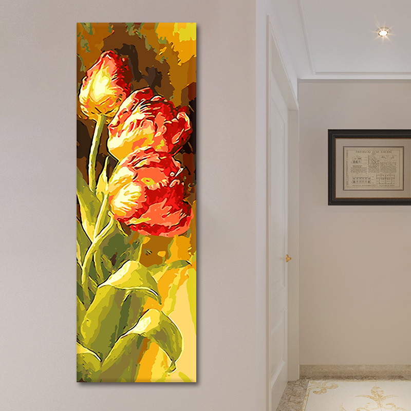 Diy Digital Oil Painting Large Scale Living Room Flower Vertical Hallway Hand-painted Painted Tulip Decorative Painting