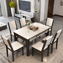 Marble dining chair combination of modern simple solid wood dining table light luxury glass steel stone retractable home solid wood dining table