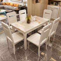 Мрамор обеденный стол и стулья сочетание современного минималистского дома 4 человек 6 человек обеденный стол небольшой семьи легкий роскошный деревянный обеденный стол