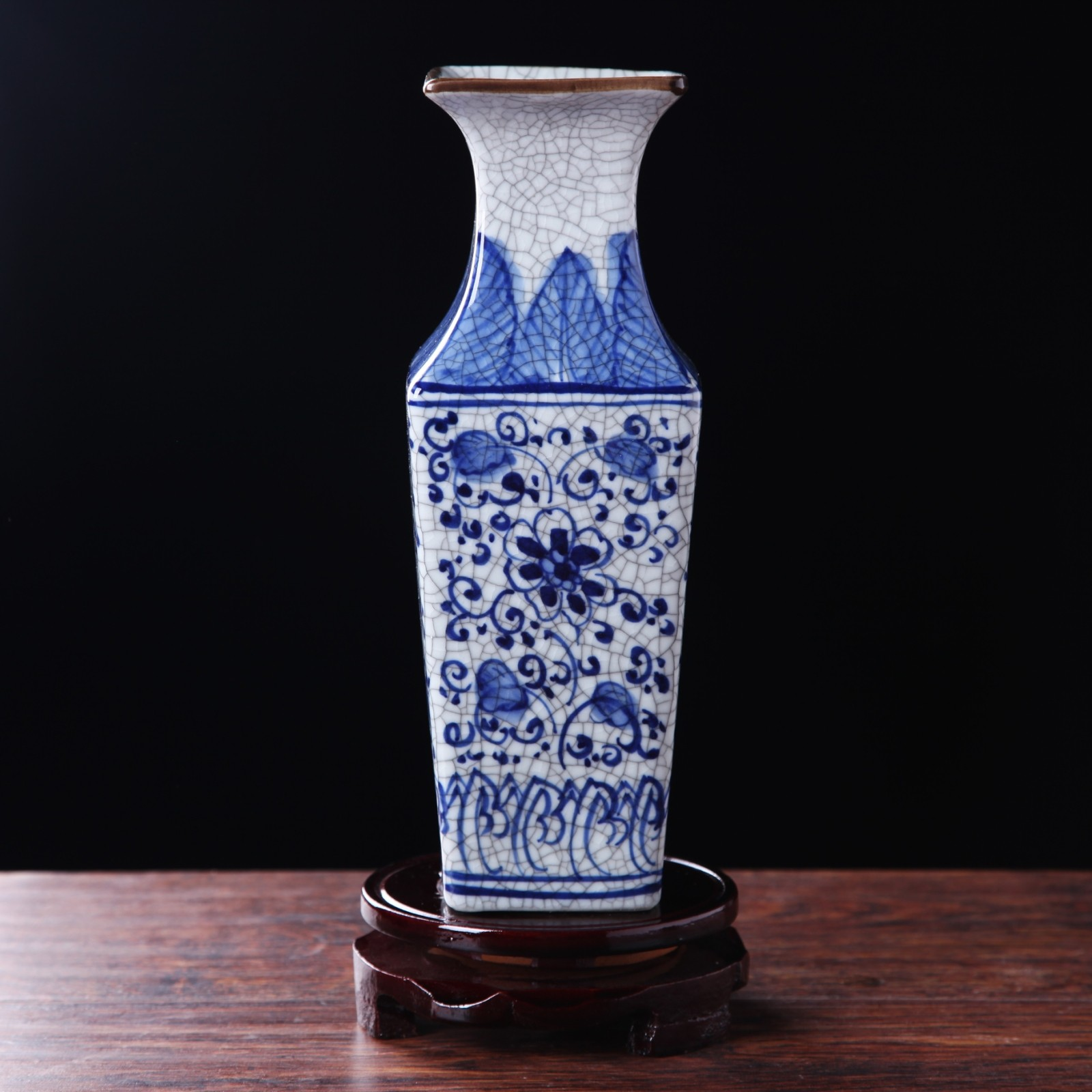 [The goods stop production and no stock]Jingdezhen ceramics antique official kiln crack glaze vase hand-painted blue and white square bottle home decoration living room decoration