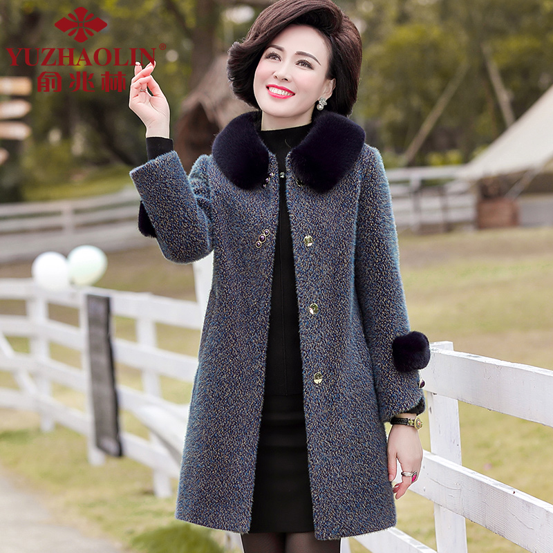 Middle-aged and old-age otter velvet coat female middle-aged long version of yang pie autumn and winter thickened hair top middle-aged mother winter coat