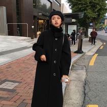 Hairy coat womens medium-length version 2020 new autumn winter cashmere over knee thick black Hepburn wind coat