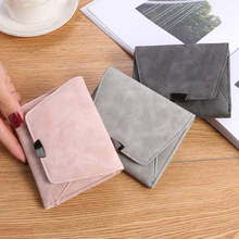 The new Korean version of women's short wallet, sanded leather wallet, Ms. Zero wallet, thin Mini Wallet