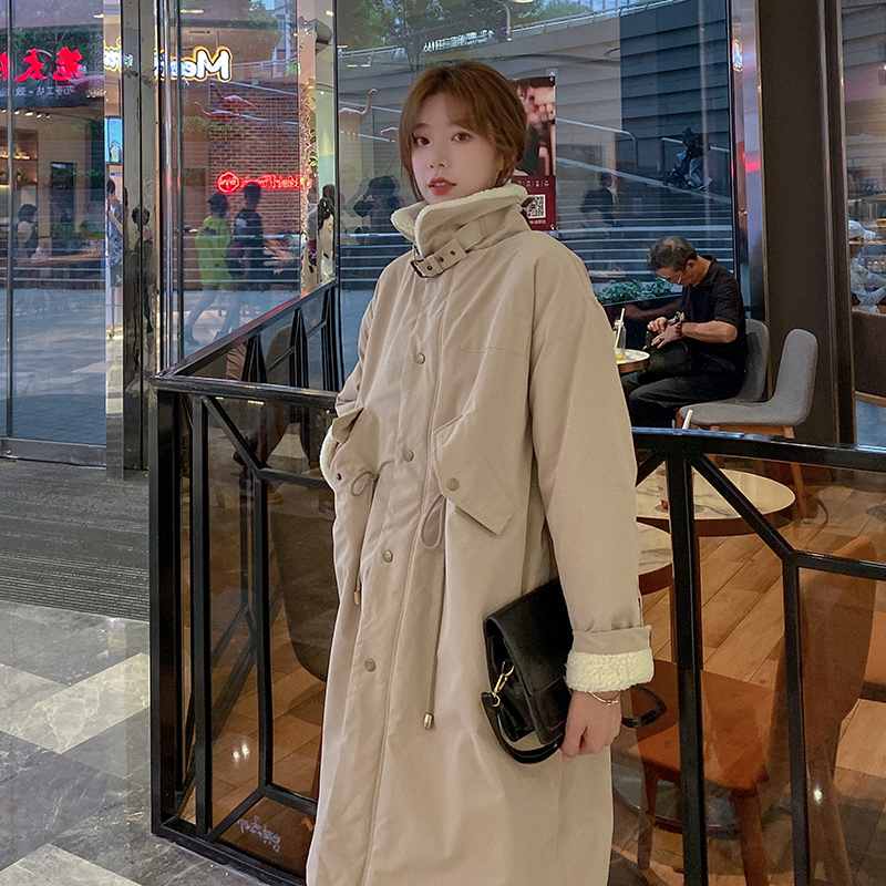 Pregnant women coat autumn and winter outside wearing lamb wool cotton clothing loose thin pregnancy small medium long winter clothes