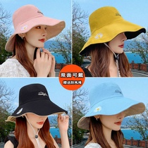Fishermans hat female double-sided little daisy summer Japanese face-covering Korean version of the tide hundred with sunshade big edge sunshade cap