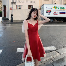 In the summer of 2019, the new large-size ladies'dress, Fat Sister mm Chaoxian retro-mesh dress, is slim and foreign-looking.